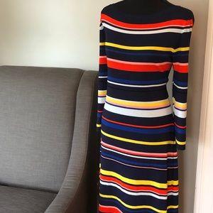 Halogen striped dress with boatneck neckline